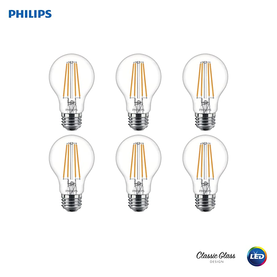 Phillips LED Dimmable A19 Light Bulb: 450-Lumen, 5000-Kelvin, 6-Watt (40-Watt Equivalent), E26 Base, Clear, Daylight, 6-Pack