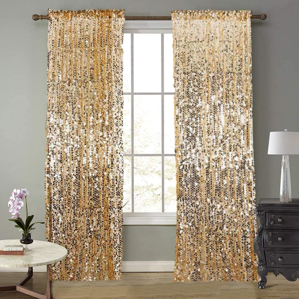 SFN Large special price Gold Payatte Sequin Drapes Curtains Max 77% OFF B Fashion 9FTx9FT Panels