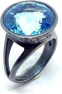 Grande anello con splendido topazio azzurro cielo tondo da 14 mm 16,87 carati. Anello.