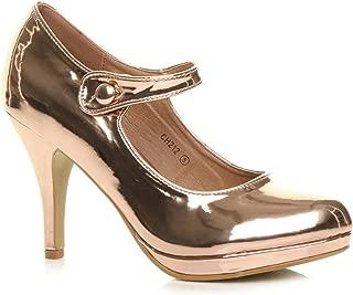 Ajvani Women's High Heel Mary Jane Court Shoes Pumps Size