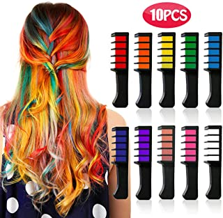 Kyerivs Hair Chalk Comb Temporary Hair Color Dye for 6 7 8 9 10 Year Old Girl Gifts and Cosplay DIY Festival Party Dress up Birthday New Year Christmas Gift Presents Mini 10PCS