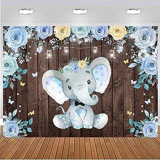 Sensfun Hintergrund für Babyparty mit Elefantenmotiv, für Neugeborene, Babyparty, mit blauer Blume, rustikales Holz, blau, 7x5ft