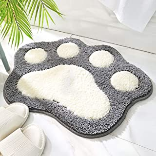Ledasiy Cute Cat Paws Bathroom Mats,17.7inch by 23.6inch Microfiber Absorbent Water Mats,Indoor Outdoor Non-Slip Easy Clea...