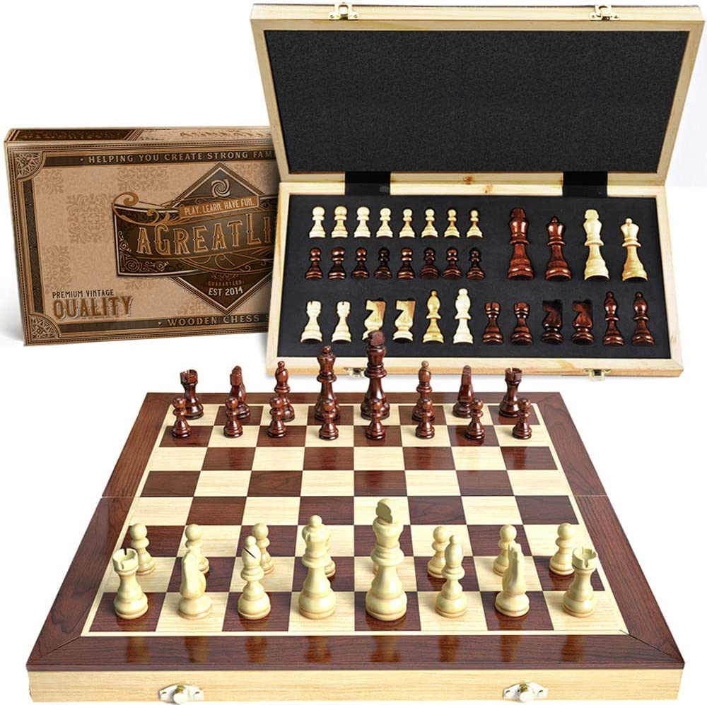 """15"""" Wooden Chess Set: Magnetic Universal Standard Board Game for All Ages 