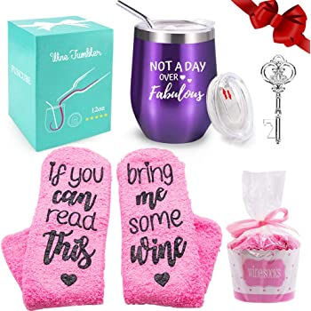 Wine Tumbler with Saying + Cupcake Wine Socks Gift Set   12 oz Stainless Steel Double Insulated Stemless Wine Glass with Lid and Straw + Key Bottle Opener, Funny Wine Gift for Women (Purple)