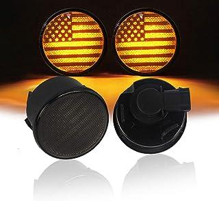 V8 GOD إشارة الانعطاف الأمامية أضواء صفراء دخانية مؤشر LED Blinker for Jeep Wrangler JK Unlimited 2007-2018 - علم الولايات...