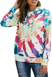 EVALESS Women Tie Dye Sweatshirts Color Block Hoodies Long Sleeve Pullover Top with Pockets