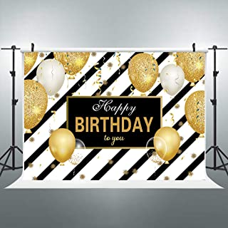 FLASIY 7x5ft Birthday Party Photography Backdrops Black Stripes Golden Balloons Ribbon Background Children Baby Shower Adults Birthday Theme Party Decoration Photo Booth Studio Props LYAY360