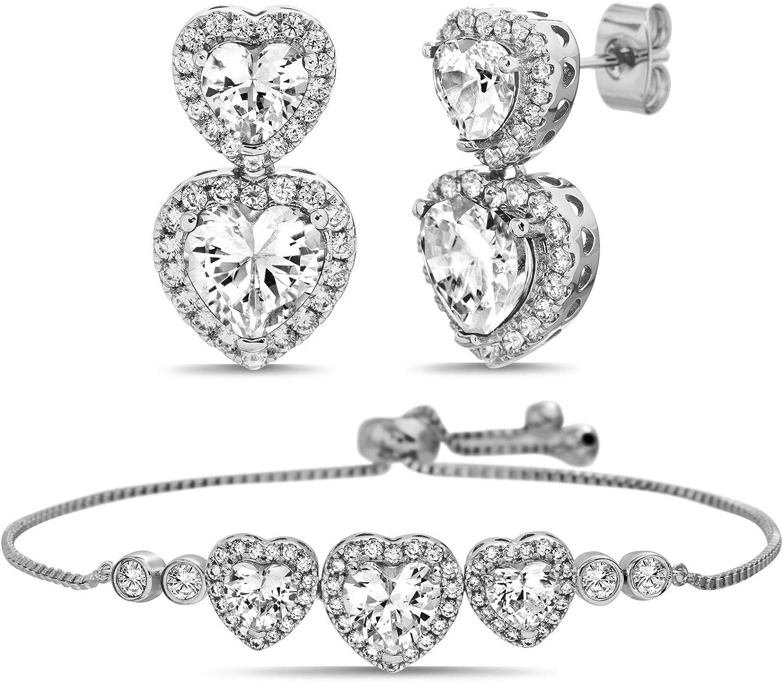Devin Rose Cubic Zirconia Heart Slider Bolo Bracelet and Drop Dangle Earrings for Women