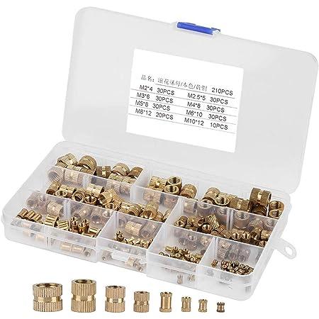 Insert filet/é Filetage Femelle Injection Moulage /Écrou Molet/é Laiton Insert Nuts Assortiment Kit 330 Pi/èces /Écrou Molet/é Filetage Femelle Noix Arrondis Molet/é Embedded avec Bo/îte de Rangement