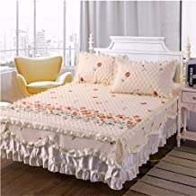 Ruffle Bed Skirt Mattress Cover,Non-Slip Mattress Cover Bedspread Lace Pure Cotton Mattress Cover Soft and Comfortable Doe...