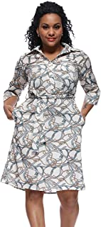 DresGai Women's Roll up Sleeves Above Knee Belted Pocket Print Casual Shirt Midi Dress