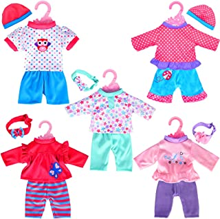 "5-Pack Playtime Outfits for 11""-12""-13"" Dolls (Includes Hair Bands and Hats) Like 11-inch Baby Dolls /12-inch Alive Baby Dolls New Born Baby Dolls"