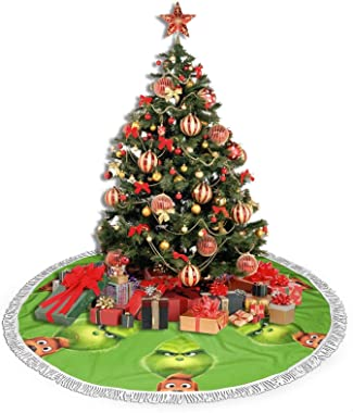 "customgogo Grinch Christmas Tree Skirt for Farmhouse Party 48"" Elk Pine Christmas Halloween Decorations Tree Xmas Ornaments"