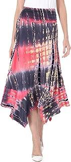 Womens Ruched High Waist Flowy Handkerchief Hemline Swing Midi Skirt