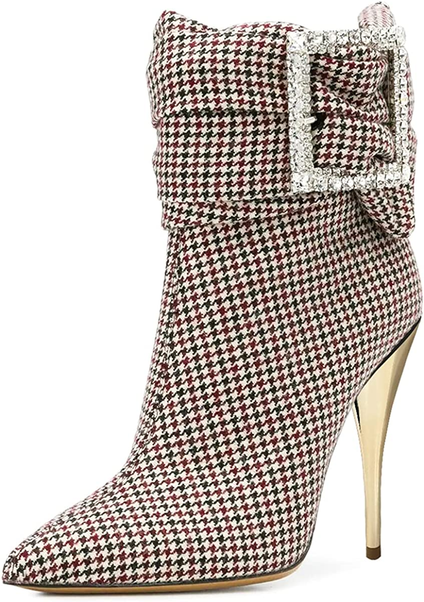 PORCLAY Ladies Ankle Boots unisex Popularity Side Plaid Zipper