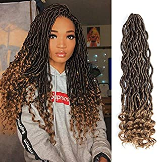 Lihui 6Pcs/Lot Goddess Locs Crochet Hair Faux Locs Crochet Hair Wavy Faux Locs with Curly Ends Synthetic Braiding Hair Extension (20