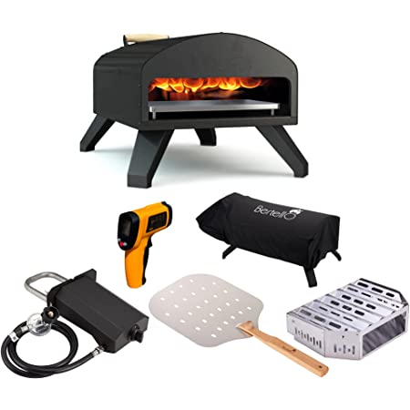 Bertello Outdoor Pizza Oven Everything Bundle - Gas, Wood & Charcoal Fired Outdoor Pizza Oven