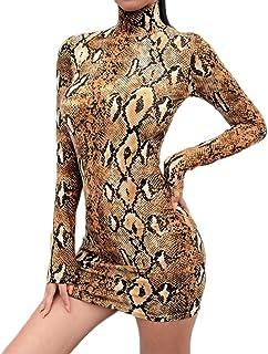 Vestito Mini Abito da Donna Sexy Aderente con Collo Alto e Stampa Zebrata in Pelle di Serpente Manica Lunga Moda Leopardato