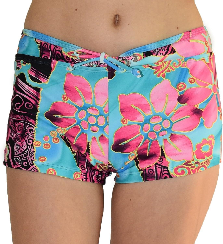 Private Island Hawaii Women UV Women UV Rash Guard Board Shorts Pants Yoga (XXL, SBP)