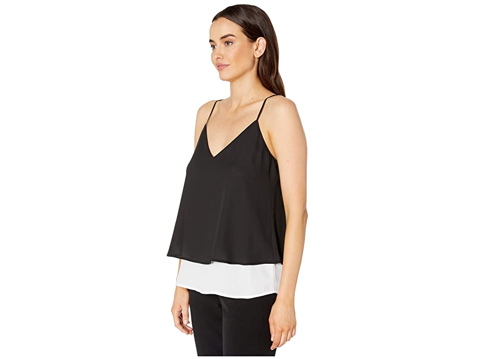 Calvin Klein Strappy Layered Cami (Black/White) Women's Clothing