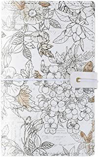 B6 Travelers Filofax Notebook 2 Refillable Journal Blank Pages Bind with 4 Rubber Bands Assorted Printing Softcover 14 Pockets Pen Loop Stave Beige Flower