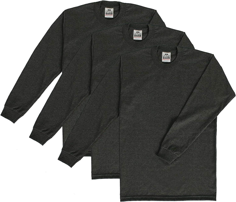 Pro Club Men's 3-Pack Heavyweight Cotton Long Sleeve Crew Neck T-Shirt