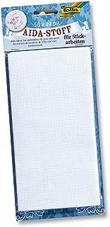 folia 23402 - Aida-Stoff für Stickarbeiten, weiß, 1 Bogen ca. 50 x 49 cm