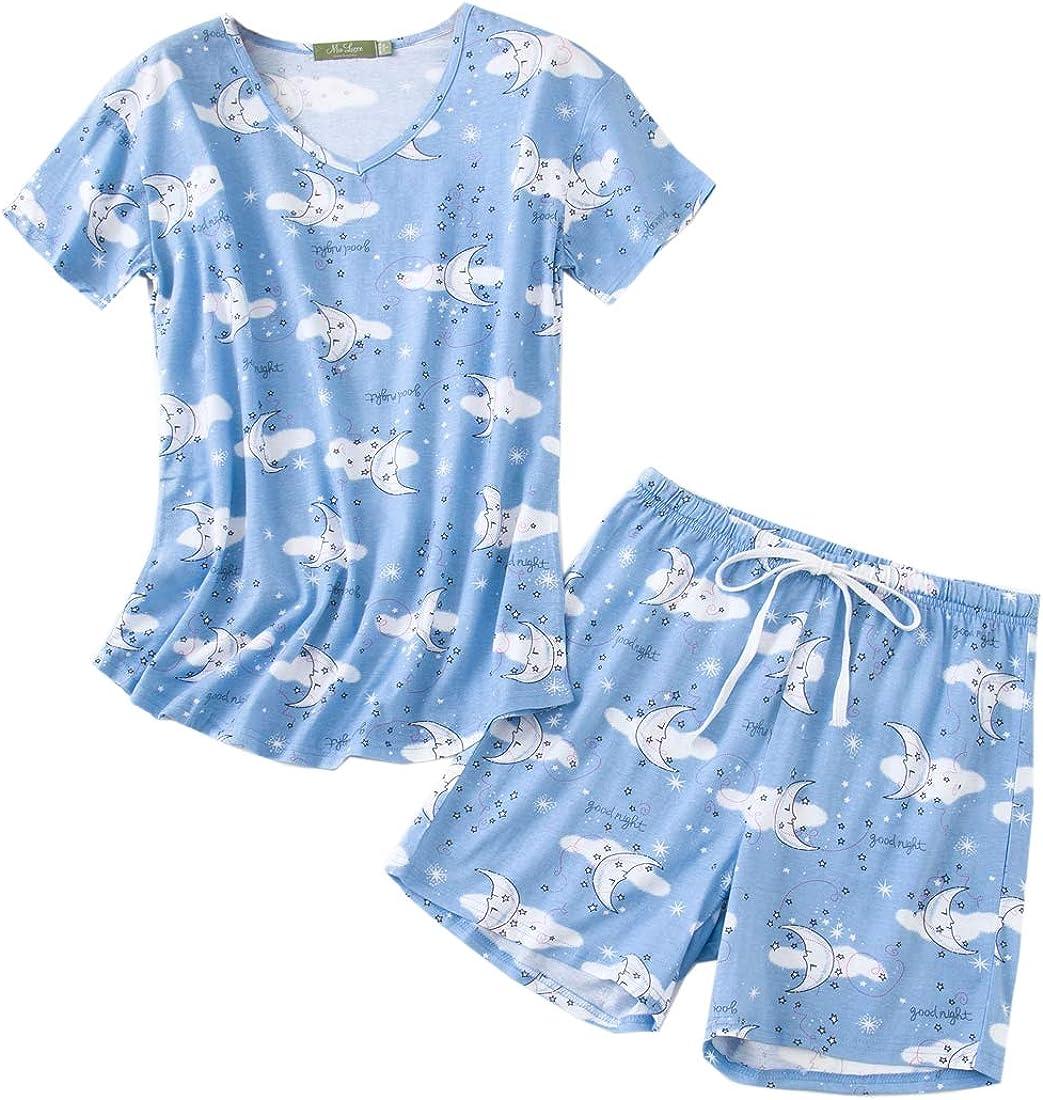 MIA Long Beach Mall LUCCE Women's Sleepwear -Cute Sho Print gift and Tee Short-Sleeve