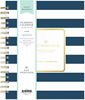 """$28 » Day Designer for Blue Sky 2022 Daily & Monthly Planner, 8"""" x 10"""", Frosted Flexible Cover, Wirebound, Navy Stripe (103622-22)"""