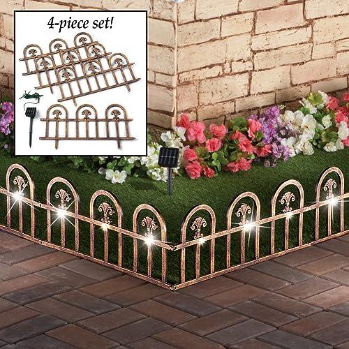 popular Jumbl Decorative 4 Piece 2021 Solar Wrought Iron Metal Look Arch high quality Garden Border Fence online