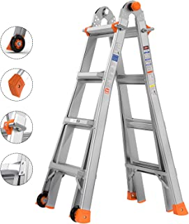 TACKLIFE Extension Ladder, 17-Foot Aluminium Telescoping Ladder, 5 in 1 Multi-Purpose, 300-Pound Duty Rating, Quick Lock System, Two Large Wheels (39.4 Inch), LD01A