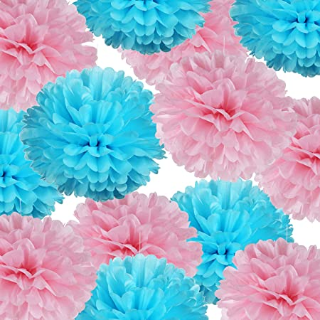 Pom Pom Set Party Deco Wall Decor Blue