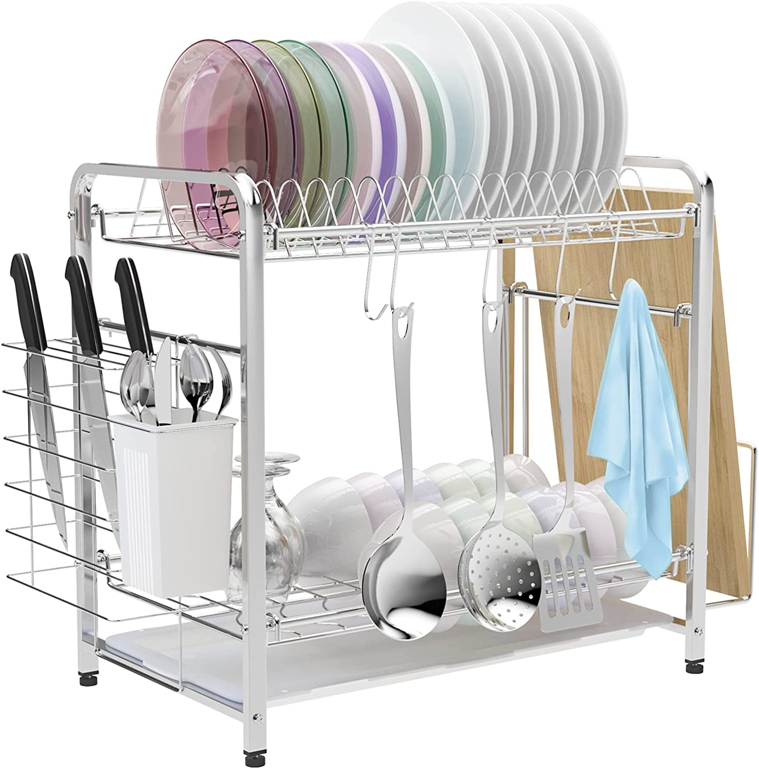 Dish Drying Rack Attention brand VLikeze Max 66% OFF Stainless Dishes Dryer 2-Tier Steel Sh