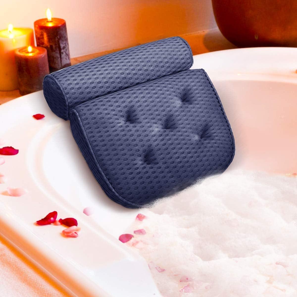 Essort Cojín de Baño de SPA 4D Almohada Bañera con 5 Ventosas Antideslizante, Bath Pillow Ergonómico para Soporte de Cuello y Hombro, para Bañera Jacuzzi y Hidromasajes, 37x38x10cm (Gris)