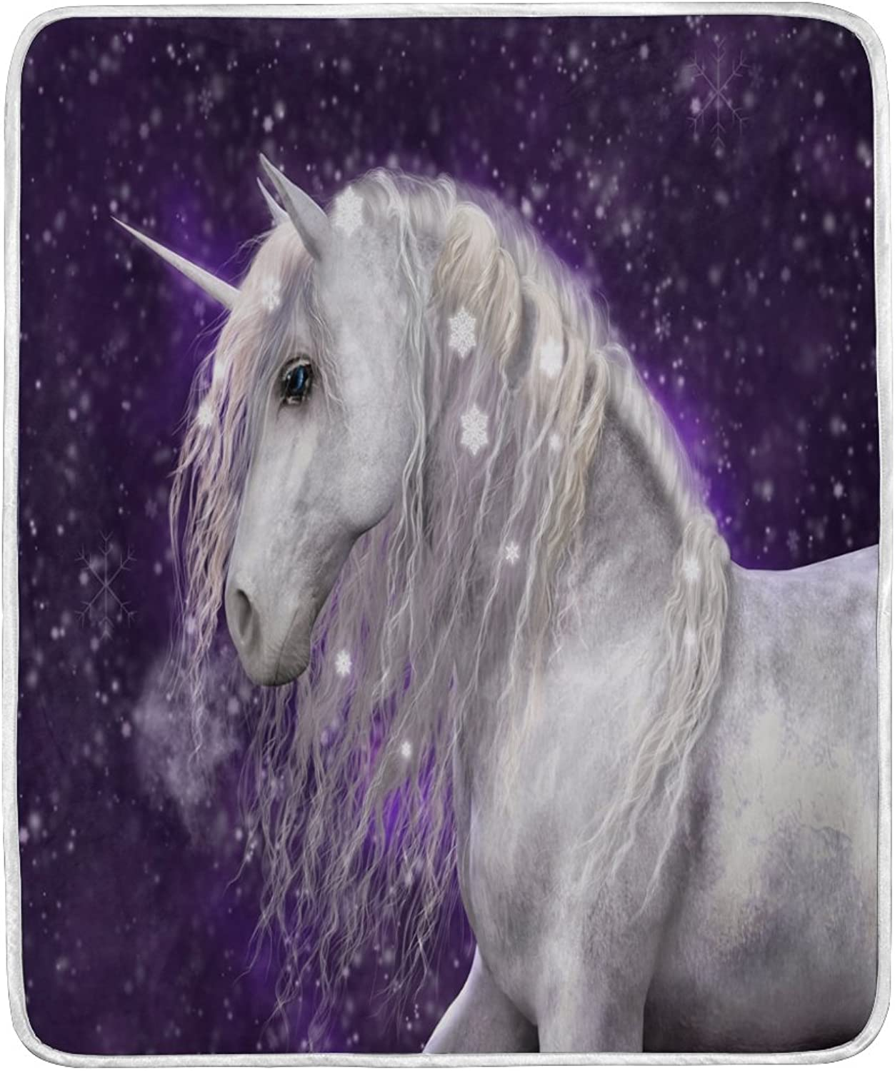 ALAZA Home Decor Purple Star White Unicorn Blanket Soft Warm Blankets for Bed Couch Sofa Lightweight Travelling Camping 60 x 50 inch Throw Size for Kids Boys Women