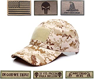 Antrix Tactical Cap Hat Adjustable Operator Cap Outdoor Baseball Cap with 6 Pieces US Flag Punisher Don't Tread On Me Tactical Patches for Hiking Climbing Working Fishing Golf -Multicam Tawny