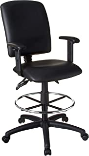 Boss Office Products Multi-Function LeatherPlus Drafting Stool with Adjustable Arms in Black