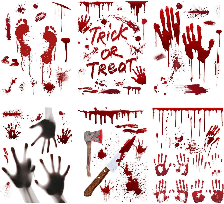 UMXOSM Halloween Free shipping on posting reviews Bloody Max 67% OFF Window Stickers Handprint Footpr Creepy