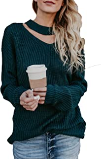 HZSONNE Women's Loose Fit Choker V Neck Batwing Long Sleeve Pullover Tie Knot Sweater Casual Knit Jumper