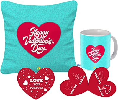 SKYTRENDS Valentines Day Gift for Wife Husband Boyfriend Girlfriend Girls Boys Love - Valentines Special Cushion(12X12) with Filler with Coffee Mug(320 Ml) and Greeting Card ST-241