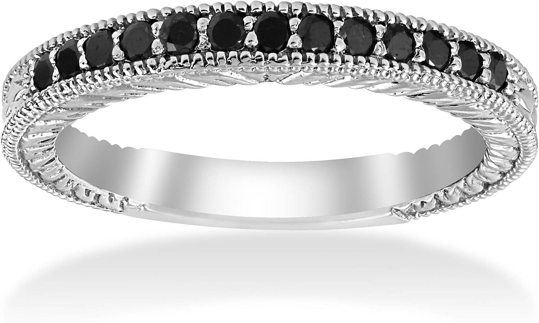 1/6ct Black Diamond Wedding Anniversary Vintage Ring
