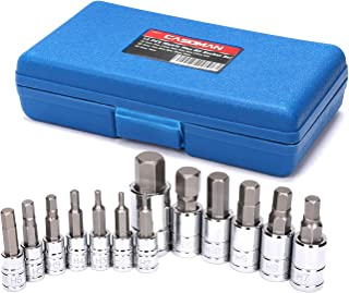 CASOMAN 13 Piece Hex Bit Socket Set, S2 Steel Bit Socket Tool Kit, Metric, 2mm-14mm, Allen Bit Socket Kit