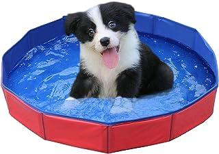 KCY Perro Plegable Piscina para Gatos Perrito Piscina De Baño De Hidromasaje para Mascotas Cabrito De Los Niños De La Bola del Agua De Estanques (Rojo/Azul) 50 * 8cm