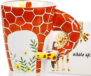 Giraffe Mug & Coaster Set - Unique Hand Painted Novelty 3D Ceramic Giraffe Coffee Mugs . Includes Cute Coaster With a Fun ...