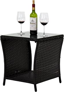Peach Tree Indoor Outdoor Square Patio Coffee Bistro Table PE Rattan Wicker Side Table w/Glass Top, Black