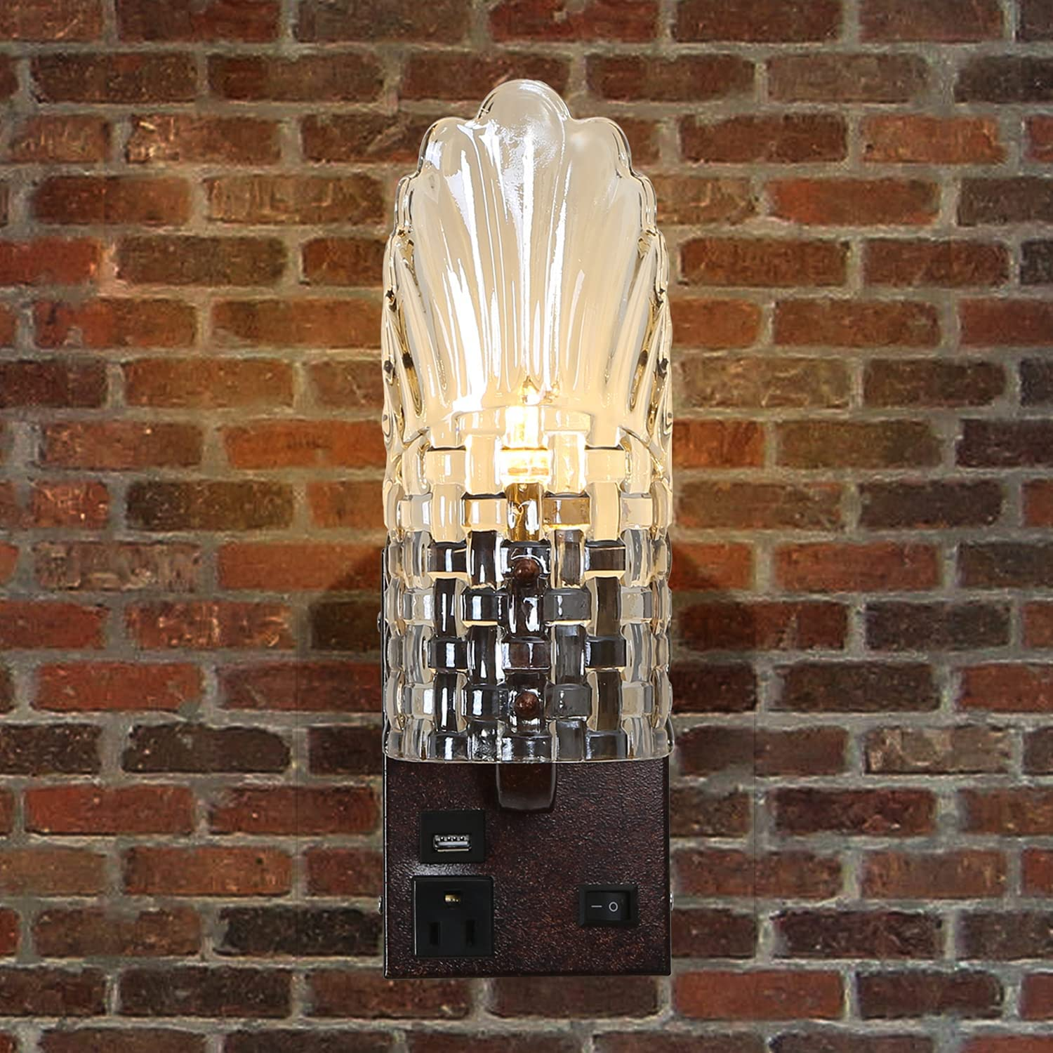 Vintage Wall Cheap mail Large special price !! order sales Lamp Glass and Sconces Metal Fixtu Retro Light