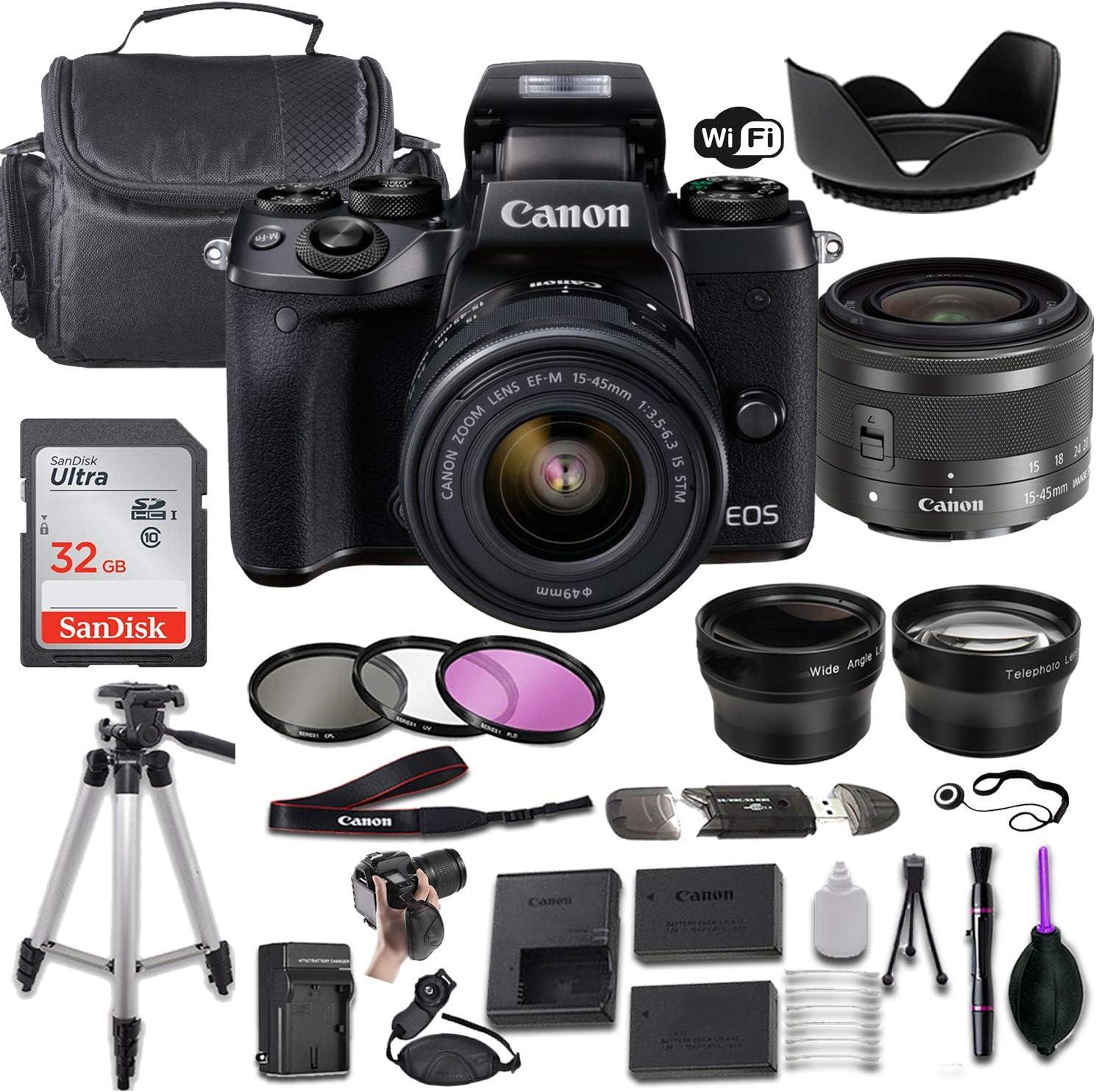 Canon EOS M5 Mirrorless Digital Camera EF-M Luxury 15-45mm Max 52% OFF f 3.5-6.3 w