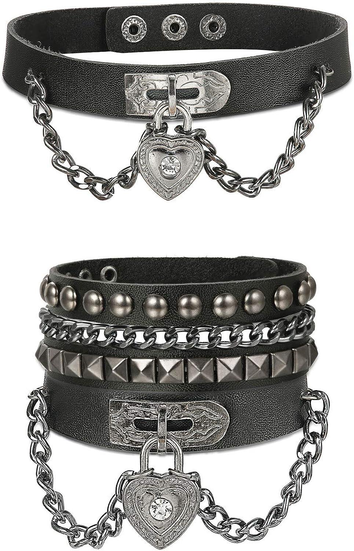 Animer and price revision FINREZIO Unisex Punk Rock Leather Coll 40% OFF Cheap Sale Choker Heart Bracelet