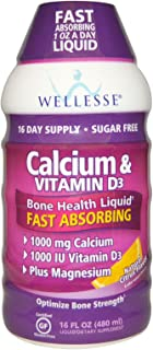 Wellesse Premium Liquid Supplements, Calcium & Vitamin D3, Sugar Free, Natural Citrus Flavor, 16 fl oz (480 ml) - 3PC